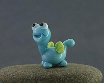Dragon bead   glass lampwork blue