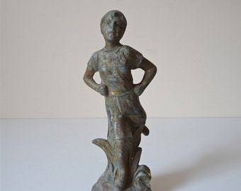 Adorable 19th french sculpture, metal, French Antique statuette French Supply