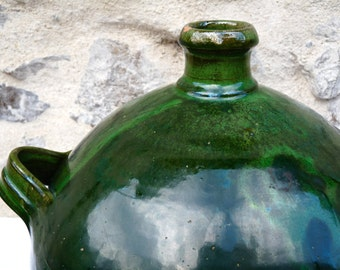 Big Size French olive oil pot -  French Pottery, french mediterranean Green pottery- French kitchen -