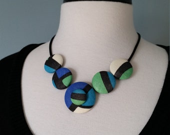 Fabric Button Necklace