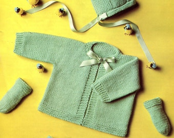 1960's Knitted Baby Carriage Set Bonnet Booties Kimono & Mittens Instant Download PDF Pattern