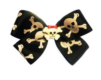 Large Skull and Crossbones Pirate Hair Bow