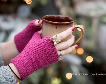 Monday Sunday Fingerless Gloves - Hand knit fingerless texting gloves: Red Bud
