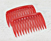 Vintage Red Hair Comb Set, Small Side Hair Combs, GOODY Plastic Hair Combs, Decorative Combs, 1970s Hair Accessories for Women Girls