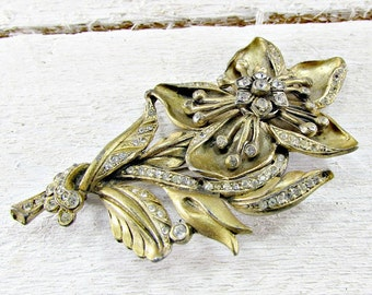 Antique Art Deco Brooch Pin, Large Gold Flower Brooch Pin, Pave Rhinestone Crystal Brooch, 1930s Art Nouveau Deco Antique Jewelry