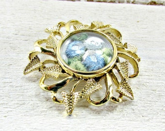 Vintage Hand Embroidery Brooch Pin, Blue Rose Flower Brooch, Gold Flower Brooch, 1950s Vintage Costume Jewelry, Mothers Day Gift for MOM