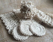 Crochet Spa Bath Shower Set Cotton Washcloths Puff Face Scrubbies Cleansing Pads Soap Saver Bag Hostess Guest Room Display Housewarming Gift