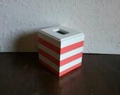 Coral and White Tissue Cover - Striped Tissue Holder - Horizontal Tissue Box Holder - Square Tissue Holder - Tissue Box Cover-Coral tissue
