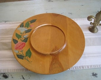 Lazy Susan Serving Platter - Hand Painted Cottage Flowers Chips & Dips Service - Hostess Servings Tray