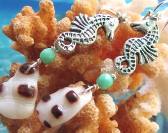 Playful Seahorses Shell Earrings