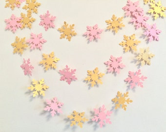 Winter ONEderland decor - pink and gold snowflake Garland - baby shower decor - snowflake banner - Christmas decor - your color choice