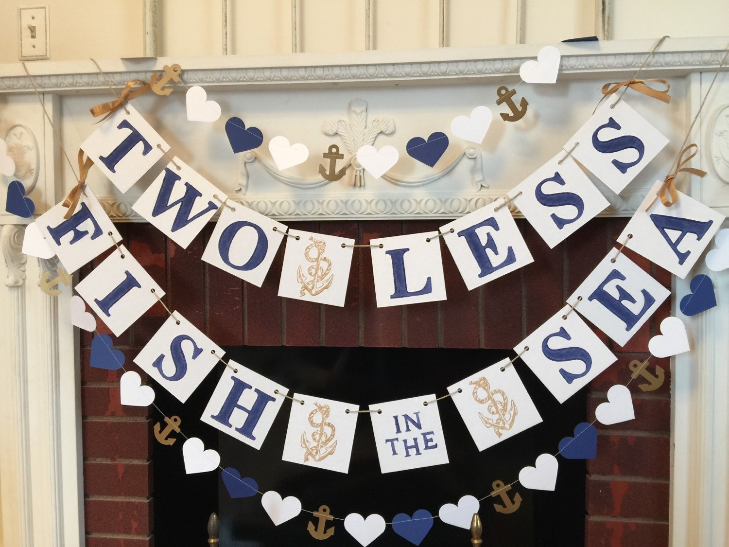Two less fish in the sea banner nautical wedding decor for Fish themed bathroom