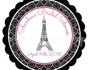 PRINTABLE, Bridal Shower Favor Tags, Eiffel Tower