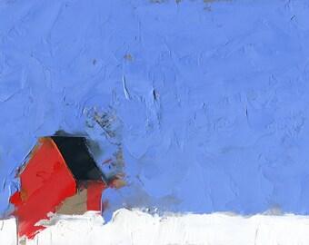A Winter Unasking — Oil Painting, Landscape Oil Painting, Original Landscape Painting, Oil Painting, Abstract Painting, Fine Art, 5 x 7