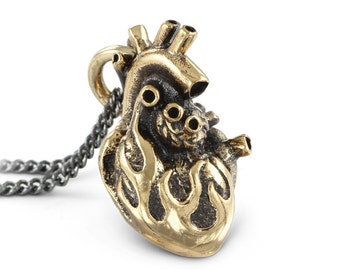 """Anatomical Heart Necklace - Bronze Flaming Anatomical Heart Pendant on 32"""" Gunmetal Chain"""