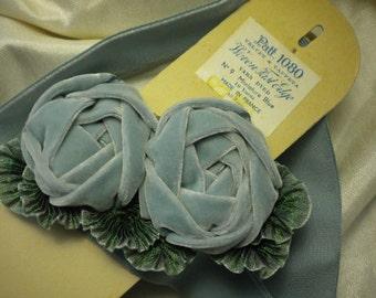 Ribbon Roses Faded Aqua Cabochons Millinery Applique