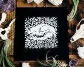 Raccoon Skull and Purslane Black Sew On Punk Patch