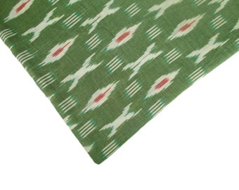 Ikat Cotton fabric handloom/homespun Ikat fabric/Ikat fabric by the yard in green with red