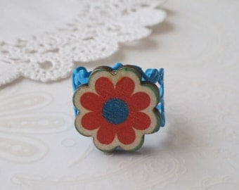 Blue Filigree with Wooden Red and Blue Flower Ring