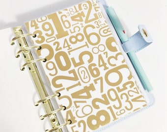 40% off SALE Personal Size Gold Foil Numbers Different Sized Numbers Laminated Dashboard for Filofax Kate Spade Agenda Kikki-k Planner