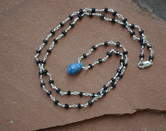 Blue Opal Necklace, Blue Opal Pendant, Black Spinel Necklace, Wire Wrapped Sterling Silver, Rosary-Style Chain