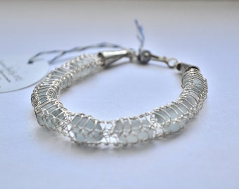 Genuine Bracelet Shades of Gray Sea Glass and Fine Silver Wire Knit