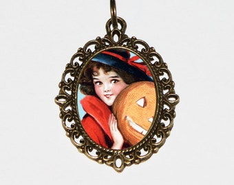 Pumpkin Witch Necklace, Halloween Jewelry, Oval Pendant