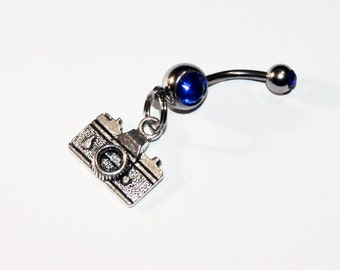 Camera Belly Button Ring, Photographer, Navel Ring, Photography, Body Jewelry, Belly Piercing