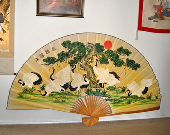 79x50 Antique Japanese Fan Hand Painted on Hemp Canvas & Paper Bamboo Frame Asian Tapestry Wall hanging Chinoiserie Art