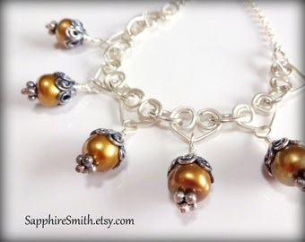 50% off Clearance! HEART OF GOLD Freshwater Pearl, Hand-wrought Heart Links & Bali Sterling Silver Necklace, unique ooak, gifts for her