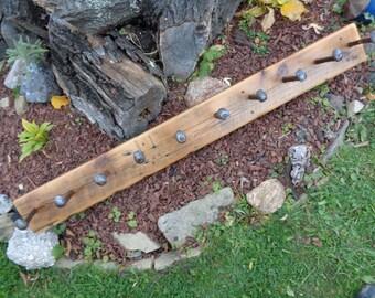 Reclaimed Barnwood 10 Railroad Spike Custom handmade coatrack, hatrack, hooks