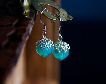 Aqua Faceted Crystal Earrings Green Round Drop Earrings Fresh Spring Green Dangle Sterling Silver Earrings - E299