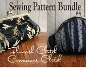 Toriska frame sewing pattern Bundle, Curvaceous round frame clutch, Flourish framed pleated clutch, PDF pattern, downloadable file, digital