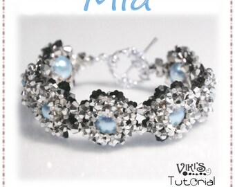 Crystal Flower Bracelet Pattern: Mia ( INSTANT DOWNLOAD Pdf)