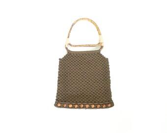 Brown Macrame Purse. Bamboo Wood Handle. Vintage 70s Boho Handbag