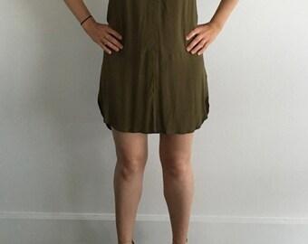 Olive Green Tunic Dress (Sz XS/S)