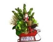 ON SALE Rustic Santa Sleigh Centerpiece Holiday Table Decor Centerpiece Christmas Centerpiece Santa Decor Holiday Centerpiece Floral Arrange