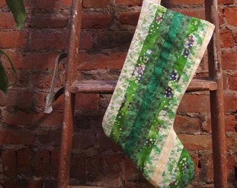 SALE - Green Striped Christmas Stocking - ooak