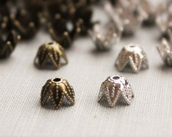 50 pc 7x4mm Bead Caps. Silver or Antique Brass