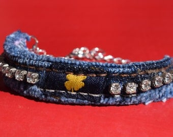 Bracelet - Denim and Diamonds - Vintage Rhinestones and Recycled Denim - Lucky Brand - Lucky Clover