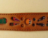 vintage 70s leather guatemalan woven fabric belt footprints flowers 60s vibe
