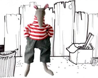 Rat dude stuffed animal, Grey Corduroy Rat