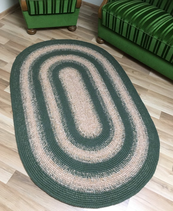 Large Area Oval Wool Rug Two Color Combo Dark Green And