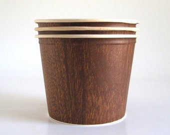 1960s Fried Chicken Bucket Popcorn Pail Restaurant Dishes Disposable Paper Food Packaging Faux Bois