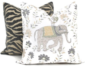 John Robshaw for Duralee Gray and Yellow Elephant Decorative Pillow Cover Square or Euro pillow cover, accent pillow, throw pillow, Mahout