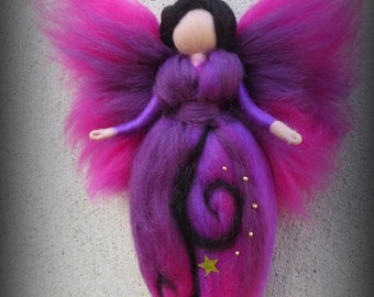 Midnight - Felted angel - needle felted and waldorf inspried