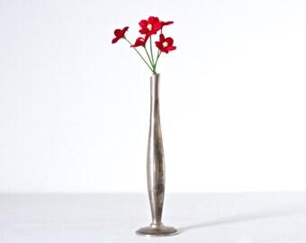 Art Deco - Slender Single Flower Bud Vase - Dark Silver - Oxidized