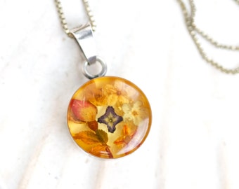 Dried Flowers Necklace - Sterling Silver and Resin Case Pendant on Chain - Made in Italy