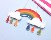 Cute and Colourful 3D Rainbow Necklace with Colour Drops