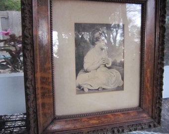 Antique carved oak frame with beautiful carving
